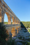 Pont du Gard is an old Roman aqueduct near Nimes  Royalty Free Stock Photos