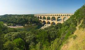 Pont du Gard. Is an old Roman aqueduct, southern France near Avignon. Panorama Royalty Free Stock Photos