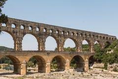 Pont du Gard, oud Roman aquaduct in Frankrijk Royalty-vrije Stock Foto's