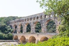 Pont du Gard, oud Roman aquaduct in Frankrijk Royalty-vrije Stock Fotografie