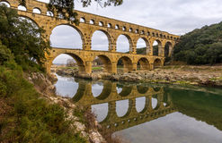 Pont du Gard, oud Roman aquaduct, Unesco-plaats in Frankrijk Royalty-vrije Stock Afbeelding