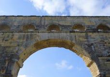 Pont du Gard, oude Roman aquaductbrug bouwt de de 1st eeuwadvertentie in Zuidelijk Frankrijk in Stock Foto's