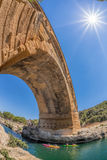 Pont du Gard with paddle boats is an old Roman aqueduct in Provence, France Royalty Free Stock Photos