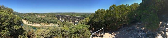 Pont du Gard panorama, Frankrike Arkivfoto