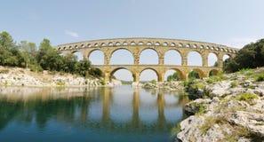 Pont du gard panoramic view. Pont du gard roman bridge horizontal day panoramic view. XXL size. Province. France Royalty Free Stock Photos