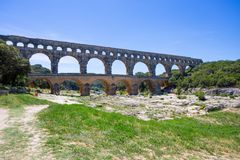 Pont du Gard, a part of Roman aqueduct in southern France near Nimes, South France. Pont du Gard, a part of Roman aqueduct in southern France near Nimes, South Royalty Free Stock Photo