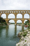Pont du Gard. In Provence, France, over the Gardon river, is an 160 foot high roman aqueduct built to provide water to the city of Nimes from the river Eure Royalty Free Stock Photos