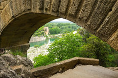 Pont du Gard. In Provence, France, over the Gardon river, is an 160 foot high roman aqueduct built to provide water to the city of Nimes from the river Eure Royalty Free Stock Photo