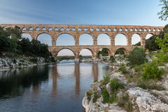 Pont du Gard Provence. The Pont du Gard roman bridge with arches in Provence, France Royalty Free Stock Images
