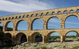 Pont du Gard Provence. The Pont du Gard roman bridge with arches in Provence, France Royalty Free Stock Image