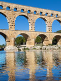 Pont du Gard reflected Stock Image
