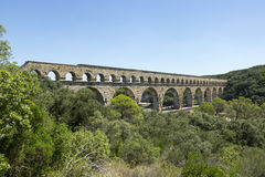Pont-du-Gard, Roman aquaduct, France. Pont-du-Gard, France. An ancient Roman aquaduct in the south of france. It was made a UNESCO World Heritage Site in 1985 Royalty Free Stock Photo