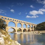 Pont du Gard Roman Aquaduct Languedoc-Roussillon France. The 2000 year old Roman Aquaduct is a huge tourist attraction Stock Photo