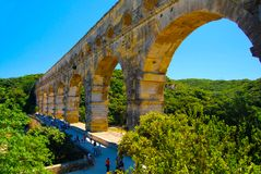 Pont du Gard Roman aqueduct. Pont du Gard Roman aquaduct over the Nimes River France is a UNESCO site Royalty Free Stock Photography