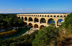 Pont Du Gard Roman Aqueduct. Over river Gard, Remoulins, France Stock Photo