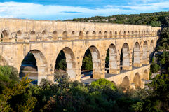 Pont du Gard side top view Royalty Free Stock Photos