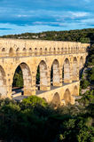 Pont du Gard side top view Stock Photos