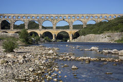 Pont du Gard - South of France. Pont du Gard Roman Aquaduct over the Gardon River near Remoulins in the South of France Stock Images