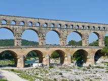 Pont du Gard on south of France stock photography