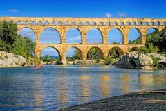 Pont du Gard, south of France. Roman aqueduct at Pont du Gard France, UNESCO World Heritage Site Stock Photography