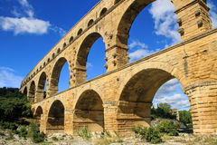 Pont du Gard, south of France. Roman aqueduct at Pont du Gard France, UNESCO World Heritage Site Royalty Free Stock Image