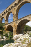 The Pont du Gard is southern France. Royalty Free Stock Images