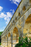 Pont du Gard in southern France. Pont du Gard is a part of Roman aqueduct in southern France near Nimes Royalty Free Stock Photo