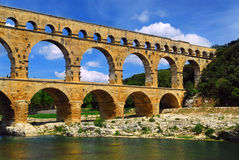 Pont du Gard in southern France Royalty Free Stock Photo