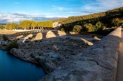 Pont du Gard sunset shadows makes great landscape Royalty Free Stock Photography