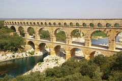 Pont du gard top view Stock Photography