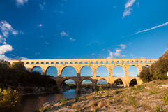 Pont du Gard under blue sky Stock Photography