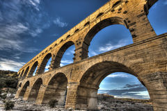 Pont du Gard. View from bottom of the Pont du Gard in France Royalty Free Stock Photography
