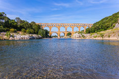 Pont du Gard was built in Roman times on  river Gardon Stock Images