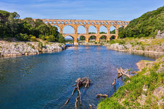 Pont du Gard was built in Roman times on  river Gardon Royalty Free Stock Images