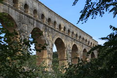 Pont du Gard. The world-famous aqueduct Pont du Gard in southern France Stock Images
