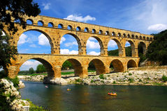 Pont du Gard in zuidelijk Frankrijk Royalty-vrije Stock Fotografie