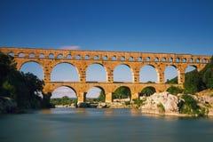 Pont du le Gard - longue version d'exposition Images stock