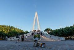 Pont du ` s d'amant dans le quai du ` s de pêcheur de Tamsui photo libre de droits