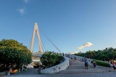 Pont du ` s d'amant dans le quai du ` s de pêcheur de Tamsui photos libres de droits