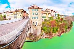 Pont du ` s de diable de Cividale del Friuli et casserole de canyon de rivière de Natisone Photo libre de droits