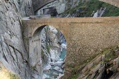 Pont du ` s de diable dans St Gothard, Andermatt Suisse image libre de droits