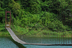 Pont en élingue au-dessus du fleuve Photographie stock