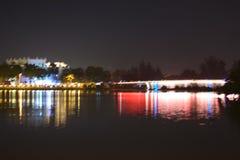 Pont en étoile le soir Images stock