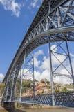 Pont en acier Ponte Luis I entre Porto et Gaïa Images stock
