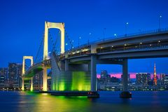 Pont en arc-en-ciel et heure bleue images libres de droits