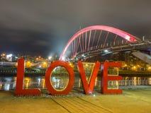 Pont en arc-en-ciel la nuit, Taïpeh Photographie stock libre de droits