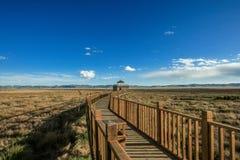 Pont en bois à la prairie de Ruoergai, Xiahe, Gannan, Chine images stock