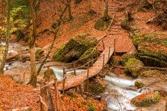Pont en bois authentique au-dessus de la rivière images stock