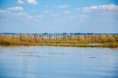 Pont en bois dans le lac Images libres de droits