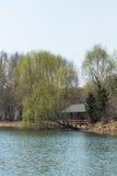 Pont en bois en vent et en pluie Photographie stock libre de droits